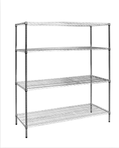 Modular Chrome Wire Storage Shelf 1500 x 600 x 1800 Steel Shelving