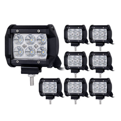 8pcs 4inch CREE LED Work Light Bar Flood Beam Offroad Lamp Save On 35W/45W Reverse