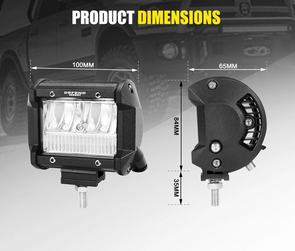 DEFEND Pair 4inch CREE LED Work Light Bar Spot Flood Reverse 4WD 12V 24V