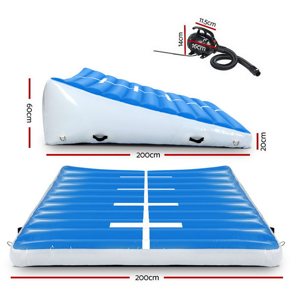 Everfit 2MX2MX0.6M Airtrack Inflatable Air Track Ramp with Pump Incline Mat Floor Gymnastics