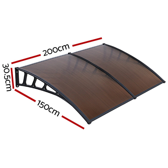 Instahut Window Door Awning Door Canopy Outdoor Patio Cover Shade 1.5mx2m DIY BR