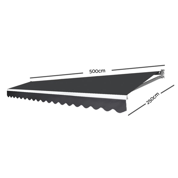 Instahut Motorised 5x2.5m Folding Arm Awning - Grey