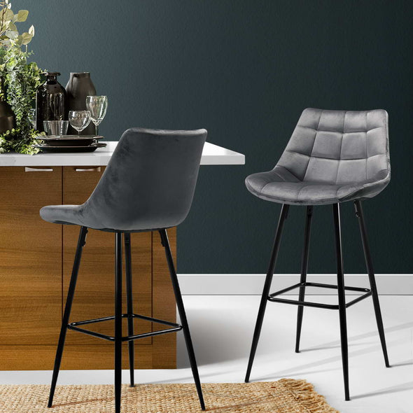 Artiss Kitchen Bar Stools Velvet Bar Stool Counter Chairs Metal Barstools Grey
