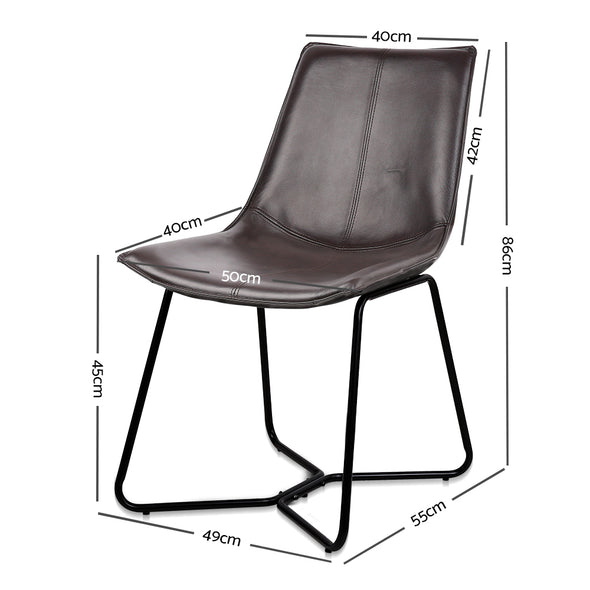 Artiss Set of 2 PU Leather Dining Chair - Walnut