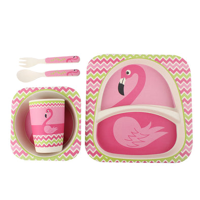 5-Piece Bamboo Cutlery Set for Kids - Flamingo