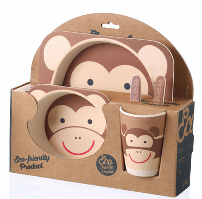 5-Piece Bamboo Cutlery Set for Kids - Monkey