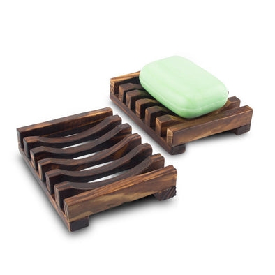 2-Piece Natural Wooden Soap Holder