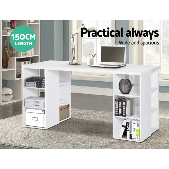 Artiss 3 Level Desk with Storage & Bookshelf - White