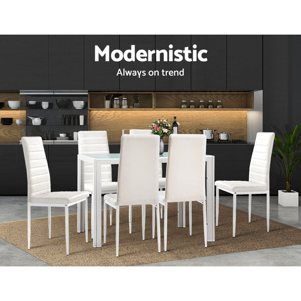 Artiss Astra 7-piece Dining Table and Chairs Dining Set Tempered Glass Leather Seater Metal Legs White