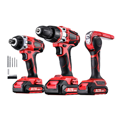 GIANTZ 20V Lithium Drill Kit Cordless Impact Drill Impact Driver LED Torch Bag