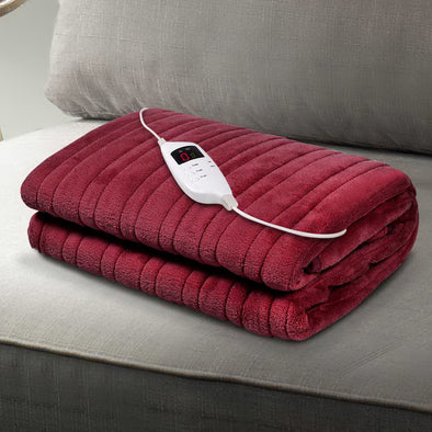 Giselle Bedding Electric Throw Blanket - Burgundy