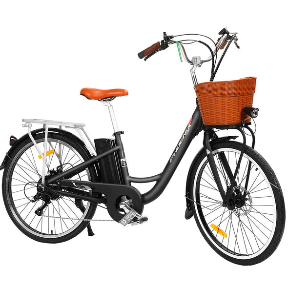 "Phoenix 26"" Electric Bike eBike e-Bike City Bicycle Vintage Style LG Battery Motorized Basket Black"