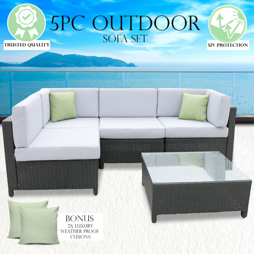 Milano Outdoor 5 Piece Rattan Sofa Set - Grey Seats & Black Coating (5 Boxes)