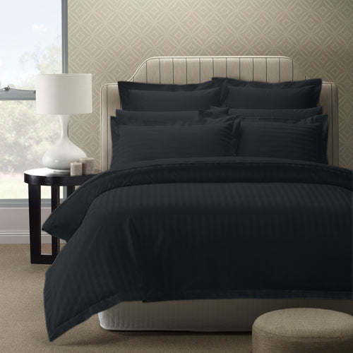 Royal Comfort 1200 Thread count Damask Stripe Cotton Blend Quilt Cover Sets King Charcoal Grey