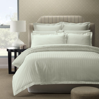 Royal Comfort 1200 Thread count Damask Stripe Cotton Blend Quilt Cover Sets Queen Silver