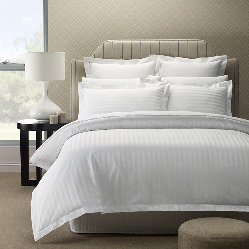Royal Comfort 1200 Thread count Damask Stripe Cotton Blend Quilt Cover Sets Queen White