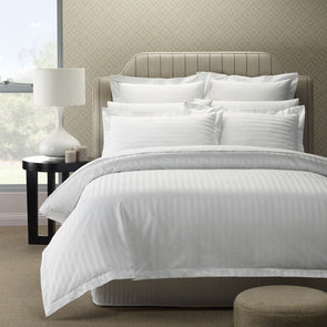 Royal Comfort 1200 Thread count Damask Stripe Cotton Blend Quilt Cover Sets King White