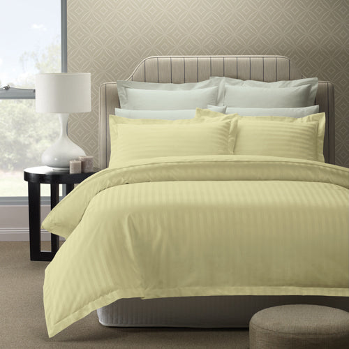 Royal Comfort 1200 Thread count Damask Stripe Cotton Blend Quilt Cover Sets Queen Pebble