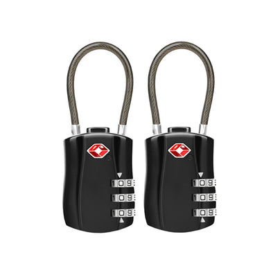 Jet Set TSA Combination Cable Luggage Lock Black 2Pk