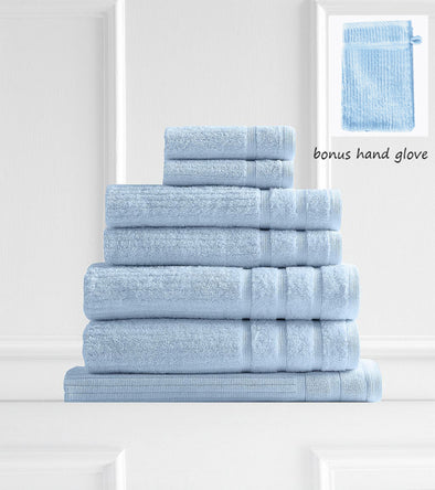 Royal Comfort Eden Egyptian Cotton 600 GSM 8 Piece Towel Pack Aqua