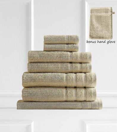 Royal Comfort Eden Egyptian Cotton 600 GSM 8 Piece Towel Pack Beige