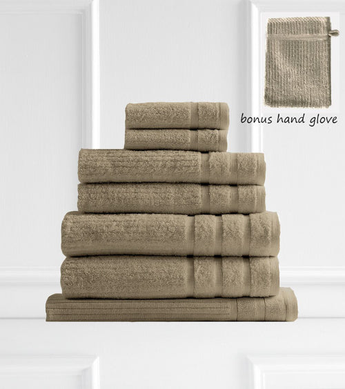 Royal Comfort Eden Egyptian Cotton 600 GSM 8 Piece Towel Pack Champagne Rose