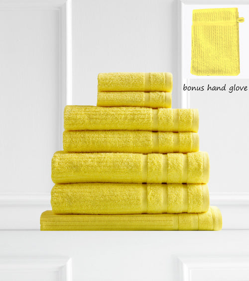 Royal Comfort Eden Egyptian Cotton 600 GSM 8 Piece Towel Pack Yellow