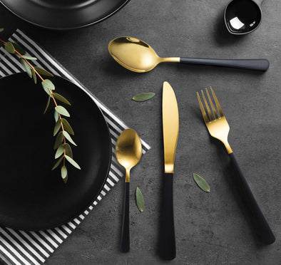 Milano Decor Set Of 16Pcs S/S Cutlery - Black And Gold