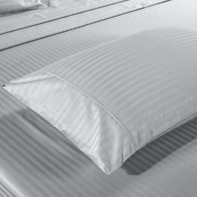 Kensington 1200TC Ultra Soft 100% Egyptian Cotton Sheet set in Stripe King- Silver (Grey)