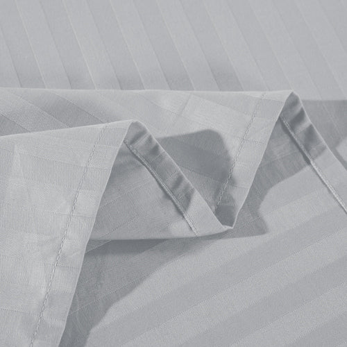 Kensington 1200Tc Cotton Sheet Set In Stripe-Single - Silver (Grey)