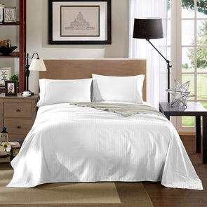 Kensington 1200TC Ultra Soft 100% Egyptian Cotton Sheet set in Stripe Queen - White