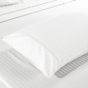 Kensington 1200TC Ultra Soft 100% Egyptian Cotton Sheet set in Stripe Double - White