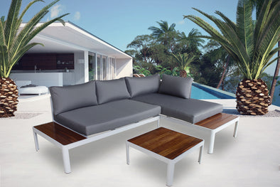 Milano 3 Piece Outdoor Lounge Set - Teak & Aluminium