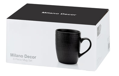 Milano Decor 6 Pcs Mug Set  -Black