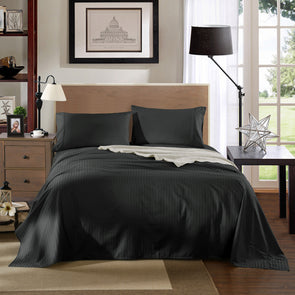 Kensington 1200TC Ultra Soft 100% Egyptian Cotton Sheet Set In Stripe - Mega Queen - Charcoal