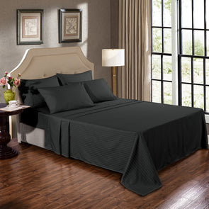 Kensington 1200TC Ultra Soft 100% Egyptian Cotton Sheet Set In Stripe - Mega Queen - Graphite
