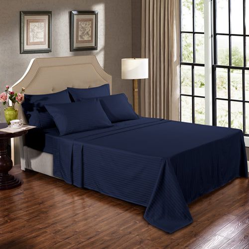 Kensington 1200Tc Cotton Sheet Set In Stripe-Double - Navy