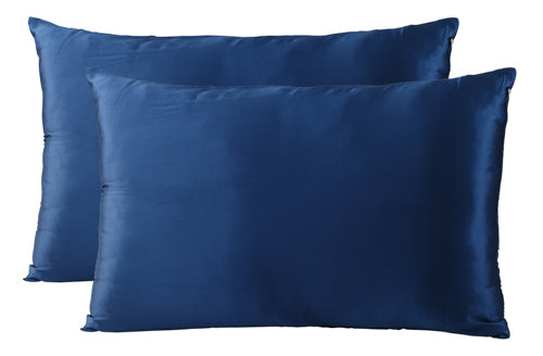 SILK PILLOW CASE TWIN PACK - SIZE: 51X76CM - NAVY