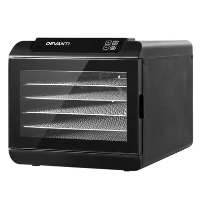 Devanti 6 Tray Food Dehydrators Commercial Beef Jerky Maker Fruit Dryer Black