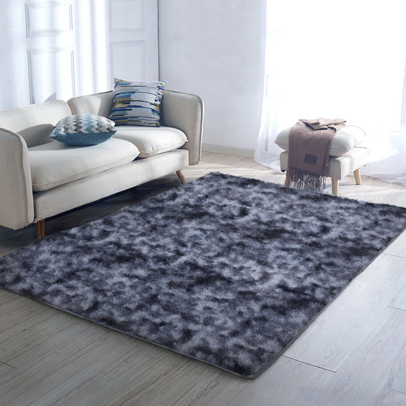Artiss Gradient Shaggy Rug 140x200cm Carpet Area Rugs Dark Grey