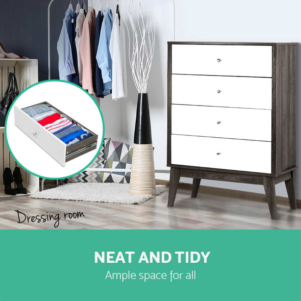 Artiss Tallboy 4 Chest of Drawers Dresser Table Storage Cabinet Bedroom Wooden