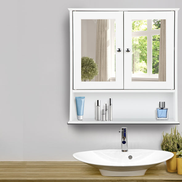 Artiss Bathroom Tallboy Storage Cabinet with Mirror - White