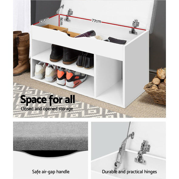 Artiss Shoe Cabinet Bench Shoes Organiser Storage Rack Shelf White Cupboard Box