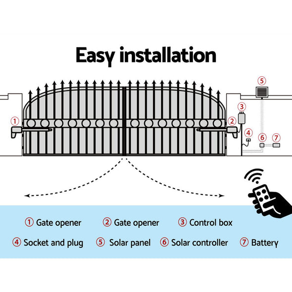 LockMaster Swing Gate Opener Auto 40W Solar Power Electric Remote Control 1000KG