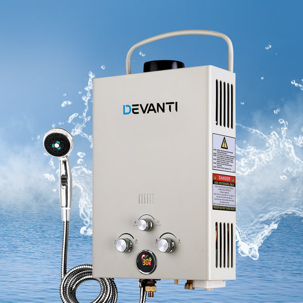 Devanti Gas Hot Water Heater Portable Shower Camping LPG Outdoor Instant Grey