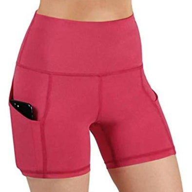 High-Waist Yoga Shorts with Pocket