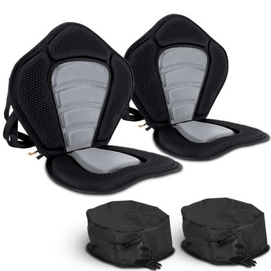 2 X Premium Adjustable Padded Kayak Seat Detachable Back Bag Canoe Backrest