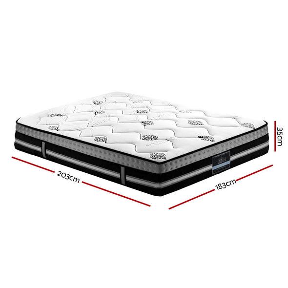 Giselle 35cm King Size Mattress Bed 7 Zone Pocket Spring Cool Gel Foam Medium Firm
