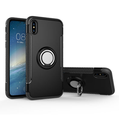 Hybrid iPhone X Case with Ring Holder and Magnetic Car Mount - Black