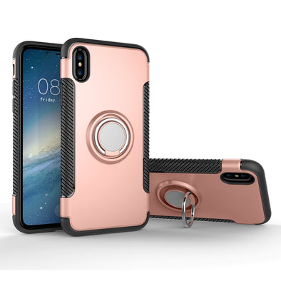 Hybrid iPhone X Case with Ring Holder and Magnetic Car Mount - Dark Pink